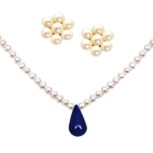 Pearl & Sapphire Necklace Set