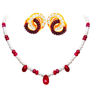 Pearl & Ruby Necklace Set