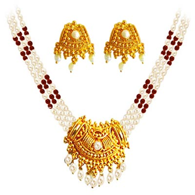 Pearl Sets-3 Line Garnet & Pearl Necklace Set