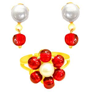Pearl Sets-Pearl Earrings & Ring Set