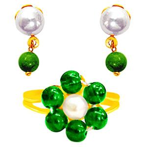 Pearl Earrings & Ring Set