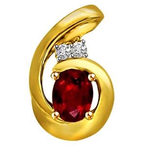 Diamond Pendants-Diamond & Ruby Pendant