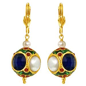 Pearl Earrings-Kundan Ball & Shell Pearl Earrings