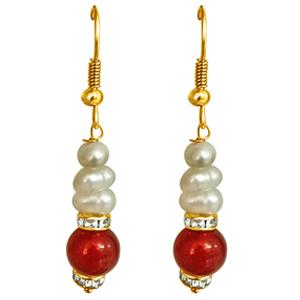 Pearl Earrings-Red Stone & Freshwater Pearl Earrings