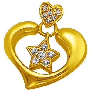 Diamond Pendants-Star in My Heart Gold & Diamond Pendant