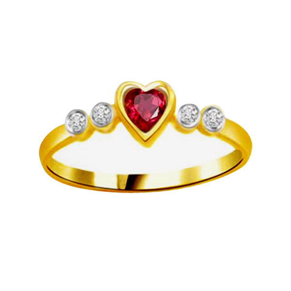 Diamond & Ruby Heart Ring