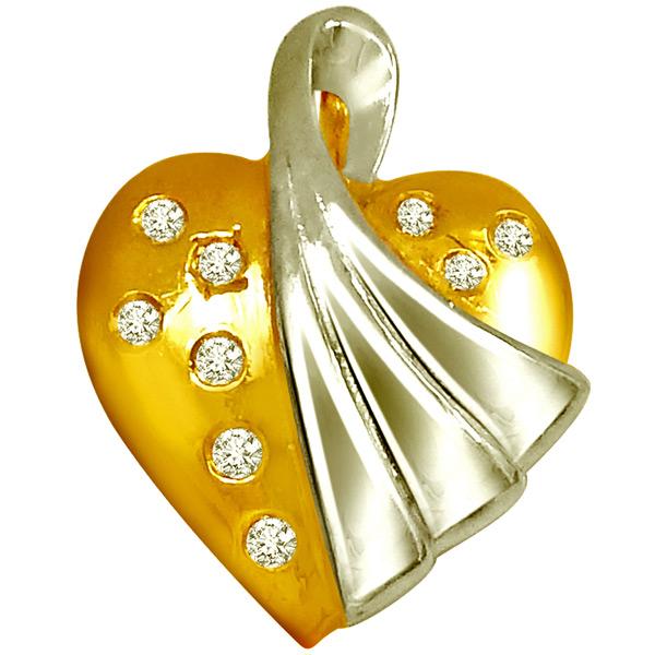 Heart Shaped Gold Diamond Pendant