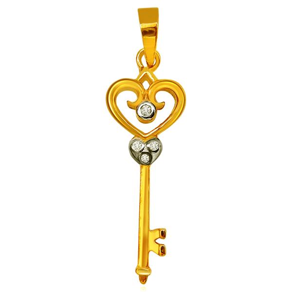 Diamond Pendants-Key Shaped Gold Diamond Pendant