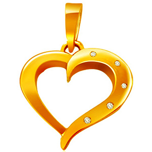 Diamond Pendants-Heart Shaped Gold Diamond Pendant