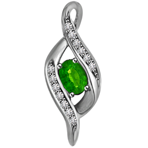 Diamond Pendants-Diamond & Oval Emerald Pendant