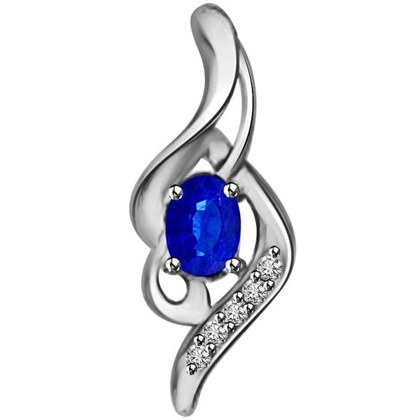 Diamond & Oval Sapphire Pendant