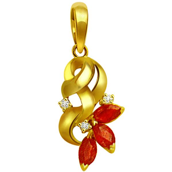 Diamond Pendants-Diamond & Marq Ruby Pendant