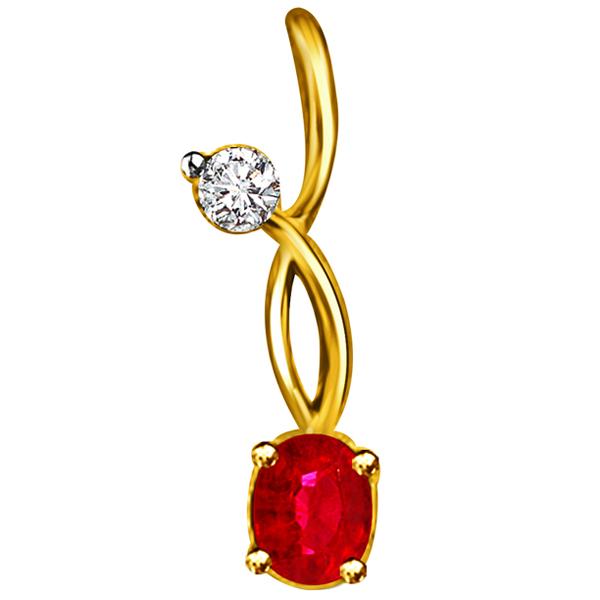 Diamond & Oval Ruby Pendant