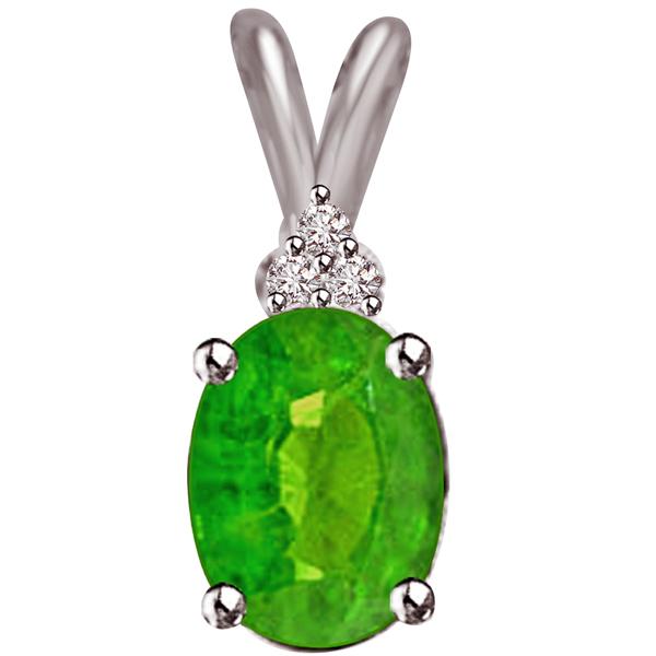 Diamond & Oval Emerald Pendant