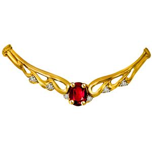 Diamond Pendants-Diamond & Ruby Necklace