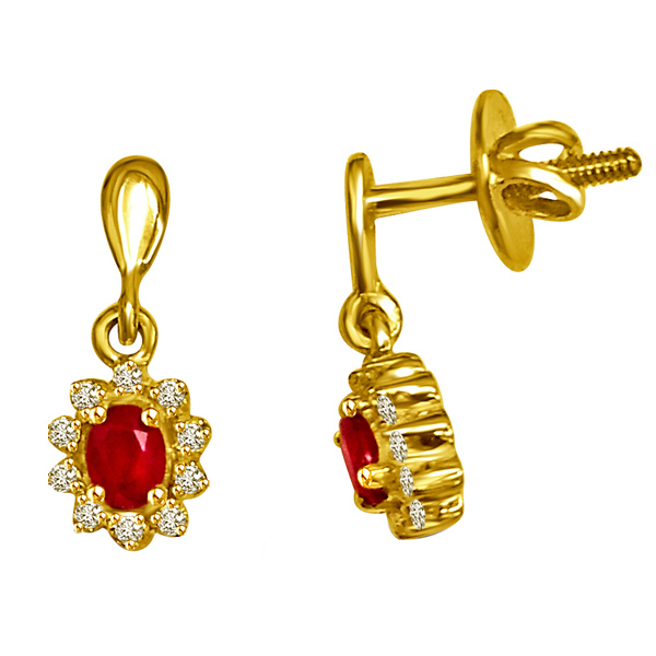 Diamond & Ruby Earrings