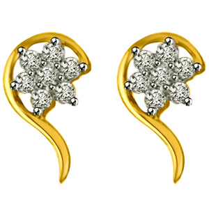 Diamond Earrings-Diamond & Gold Earrings
