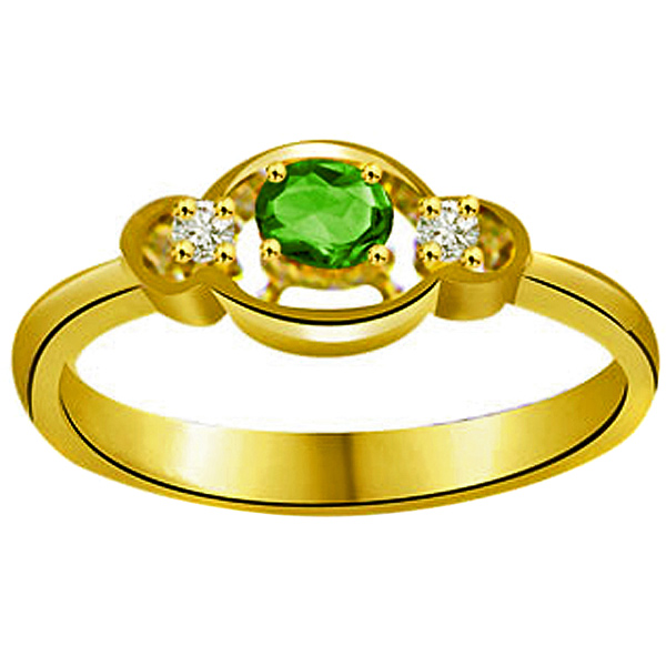 Diamond & Oval Emerald Ring