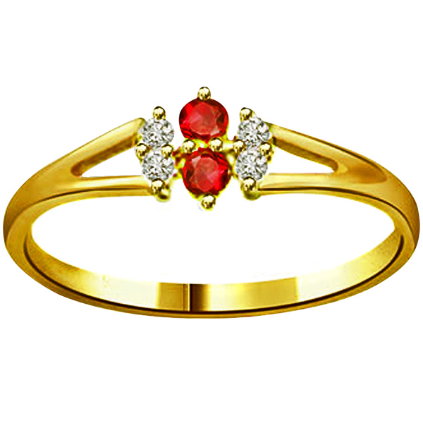 Diamond-Diamond & Ruby Ring