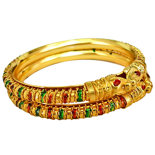 Lion Faced Gold Plated Bangles - Set of 2