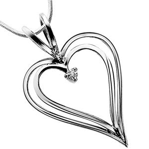 Diamond Pendants-Love Pendant - Diamond & Silver Pendant with Chain