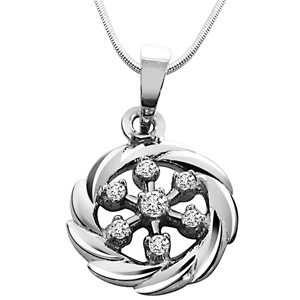 Diamond Pendants-Royal Twist - Diamond & Silver Pendant with Chain
