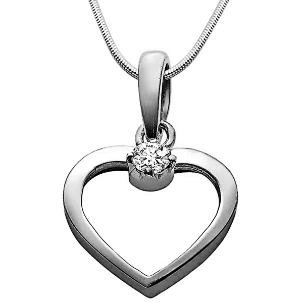 Diamond Pendants-Love Cage - Diamond & Silver Pendant with Chain