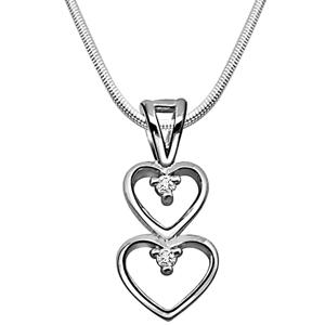 Diamond Pendants-Magical Heart - Diamond & Silver Pendant with Chain