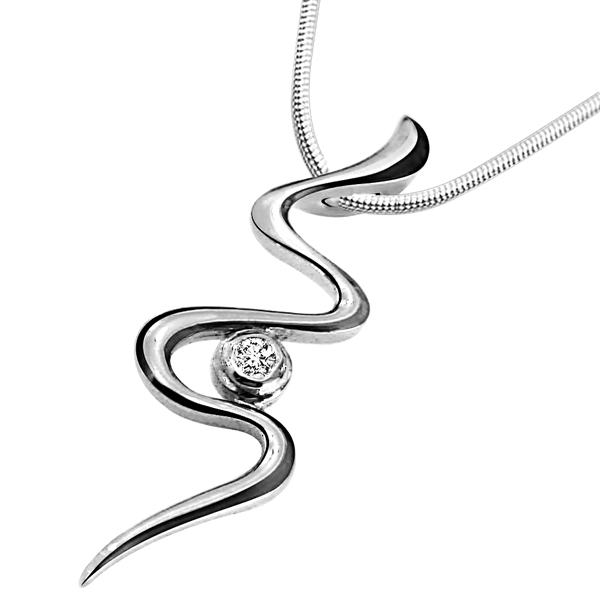 Twisty Silver - Diamond & Silver Pendant with Chain