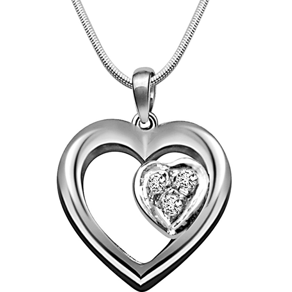 Diamond Pendants-Symbol of Love - Diamond & Silver Pendant with Chain