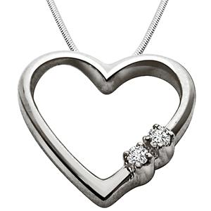 Diamond Pendants-Express Your Love - Diamond & Silver Pendant with Chain