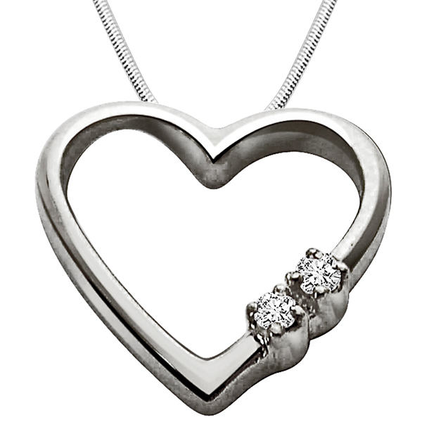 Express Your Love - Diamond & Silver Pendant with Chain
