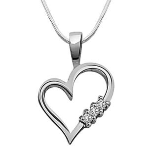 Diamond Pendants-White Beauty - Diamond & Silver Pendant with Chain