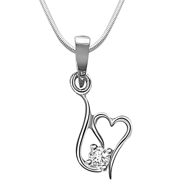 Twisted Heart - Diamond & Silver Pendant with Chain