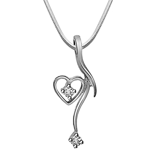 Diamond Pendants-Dangling Heart - Diamond & Silver Pendant with Chain