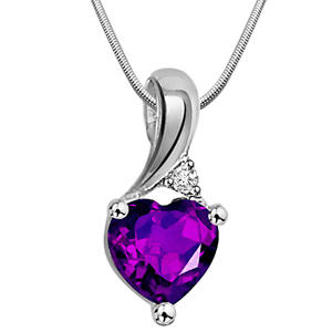 Diamond Pendants-Vibrant Purple - Diamond & Silver Pendant with Chain