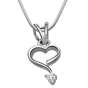 Diamond Pendants-Intricate Love - Diamond & Silver Pendant with Chain