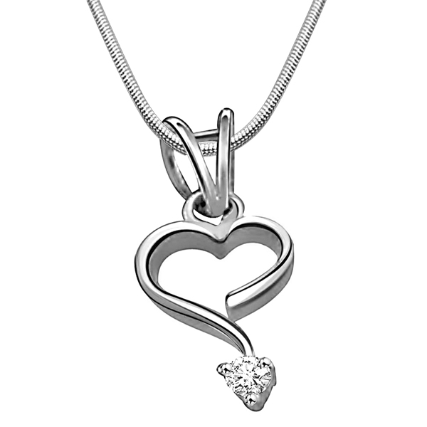 Intricate Love - Diamond & Silver Pendant with Chain