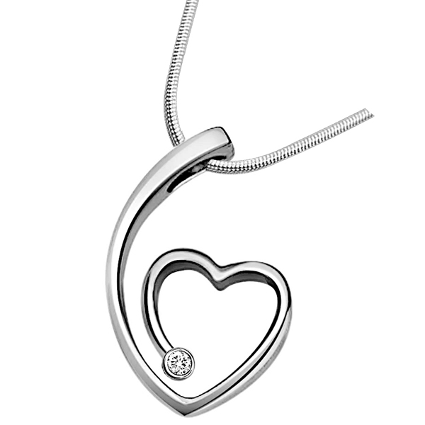 Nature's Heart - Diamond & Silver Pendant with Chain
