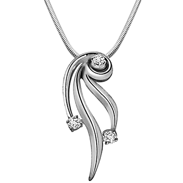 Nature's Divine Glory - Diamond & Silver Pendant with Chain