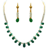 Real Faceted Drop Green Onyx Necklace Set