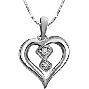 Diamond Pendants-Diamond & Silver Pendant with Chain