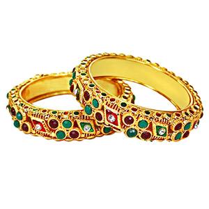 Gold / Silver Plated Bangles-Traditional Rajasthani Polki Patlas