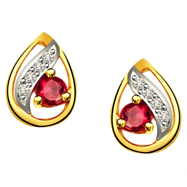 Drop Shape Diamond & Ruby Earrings