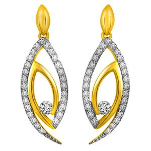 Diamond Earrings-Two Tone Diamond & Gold Earrings