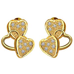 Diamond Earrings-Heart Shape Diamond Earrings