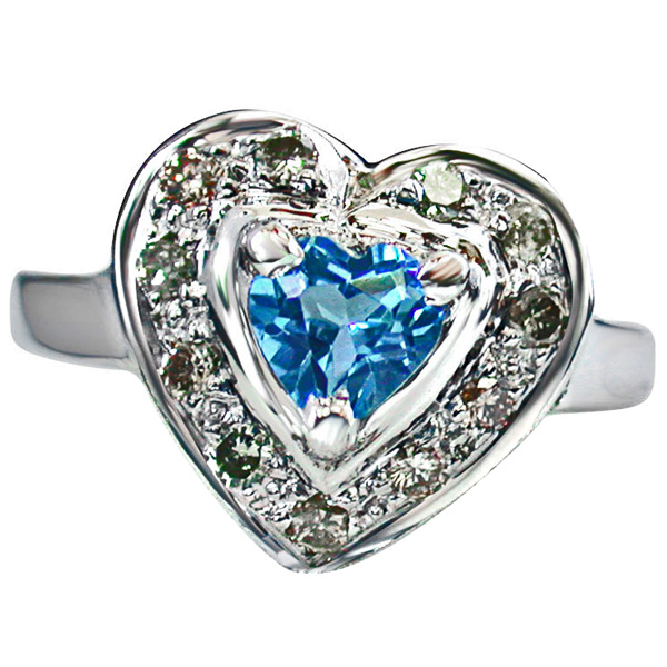 Diamond Heart Shape Swiss Blue Topaz Silver Ring