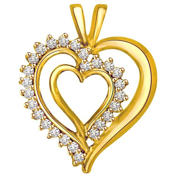 Diamond Pendants-Diamond & Gold Pendant