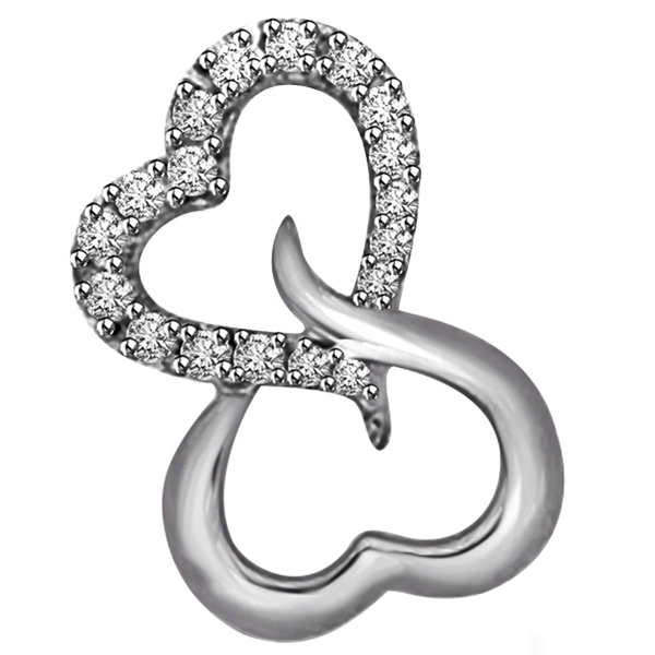 Diamond Pendants-White Gold & Diamond Heart Pendant