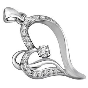 Diamond Pendants-White Gold & Diamond Heart Pendant